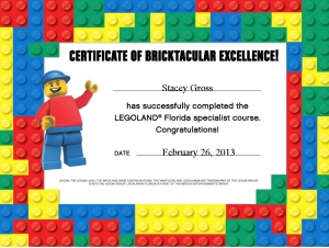 Stacey Gross earned her Legoland graduation certificate
