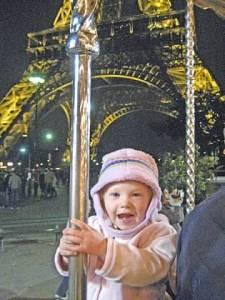 Samantha on carousel in Paris